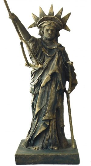 sculpture of Satue of Liberty with crutches