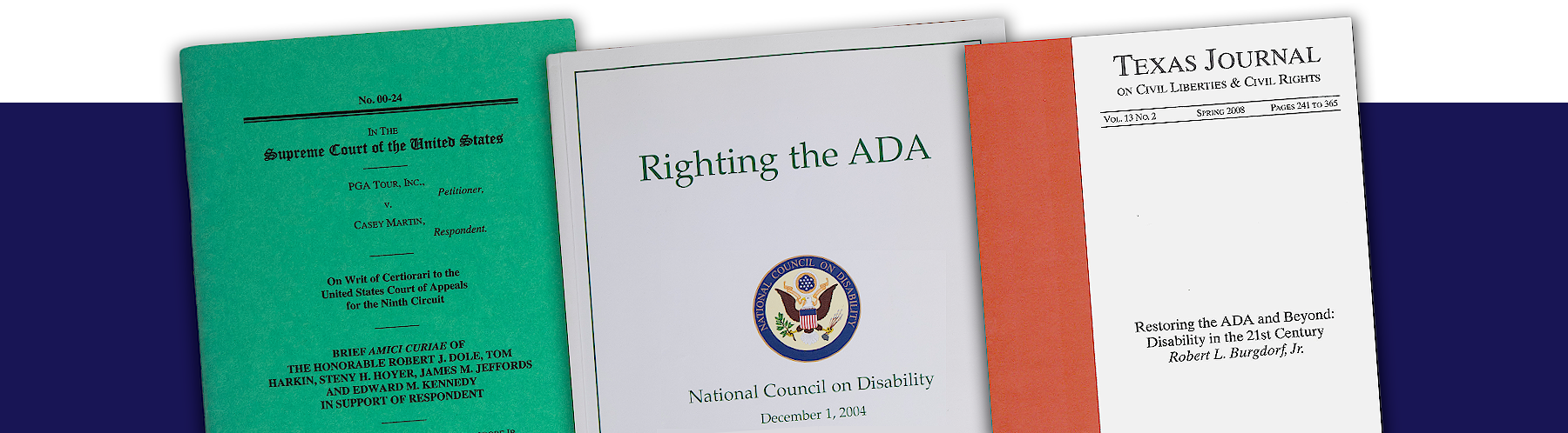 collage of important document covers related to the passage of the ADA